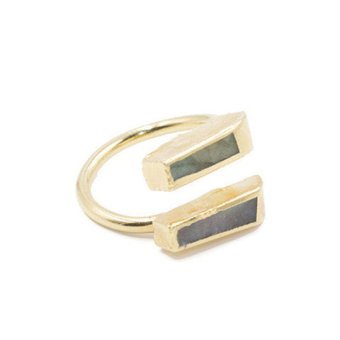 Double Labradorite Bar Ring