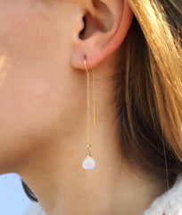 Ear Threaders in Moonstone-Earrings-Waffles & Honey Jewelry-Waffles & Honey Jewelry