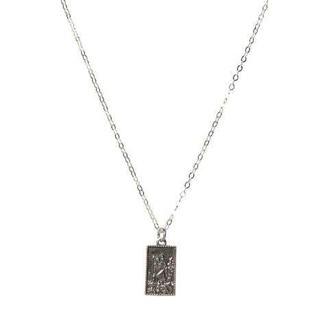 Elena Rectangle Necklace in Silver