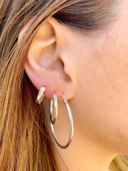 Essential Hugging Hoops in Silver-Earrings-Waffles & Honey Jewelry-Waffles & Honey Jewelry