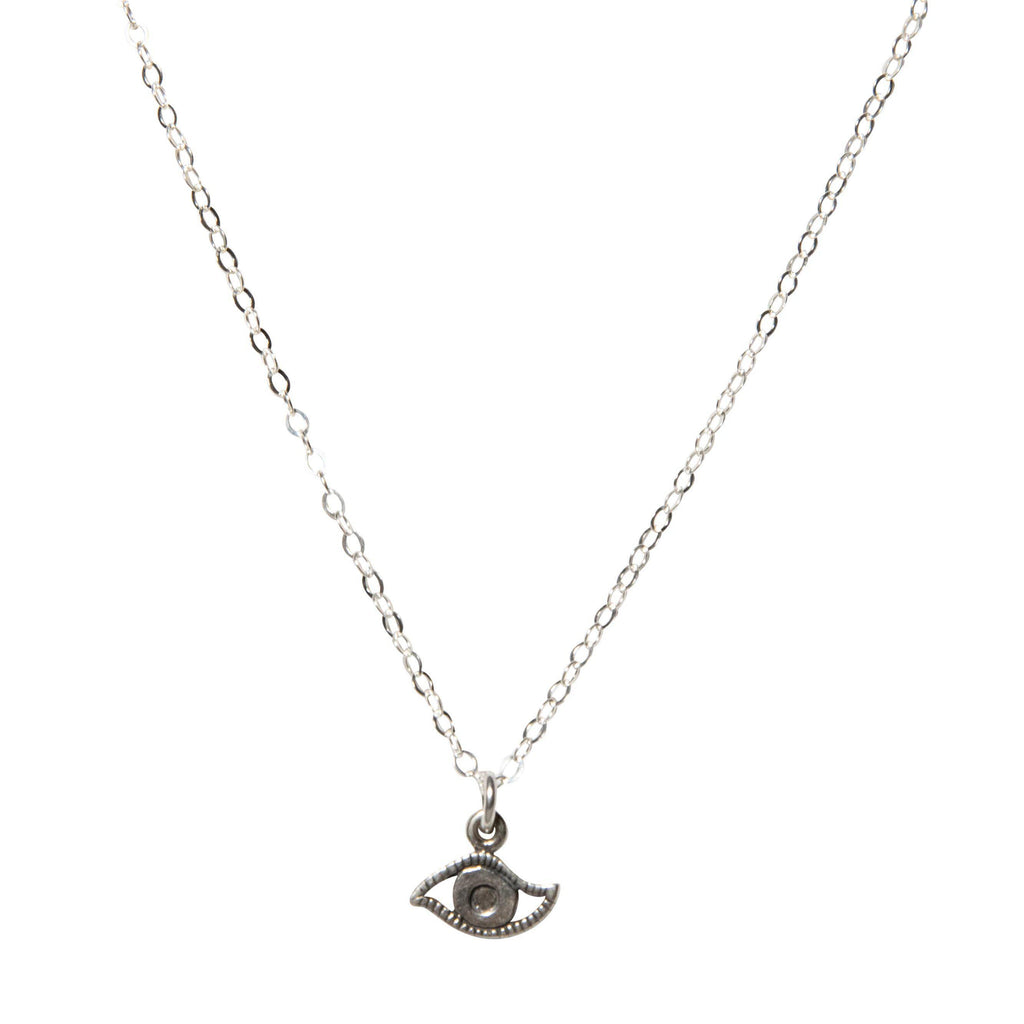 Evil Eye Choker in Silver-Necklaces-Waffles & Honey Jewelry-Waffles & Honey Jewelry