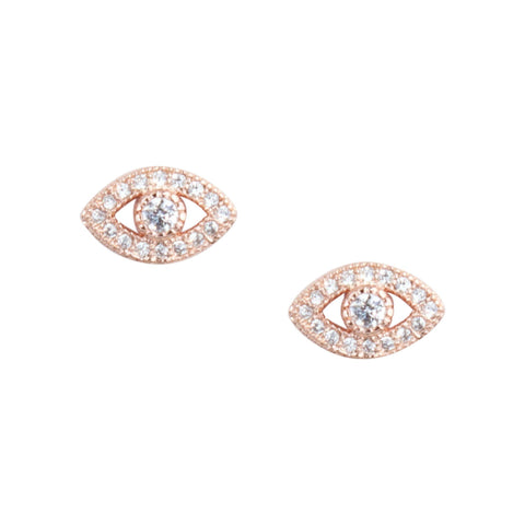 Evil Eye Studs in Rose Gold