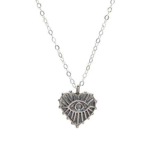Frieda Heart Choker in Silver