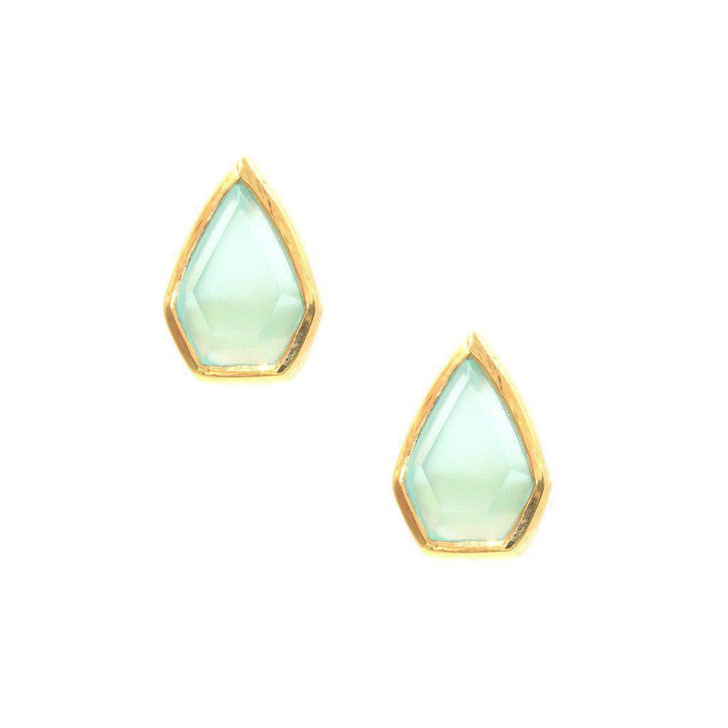 Gemstone Diamond Studs in Chalcedony-Earrings-Waffles & Honey Jewelry-Waffles & Honey Jewelry