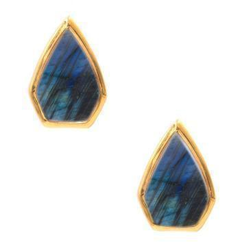 Gemstone Diamond Studs in Labradorite