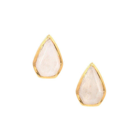Gemstone Diamond Studs in Moonstone