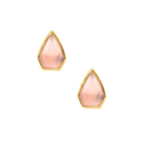 Gemstone Diamond Studs in Pink Chalcedony