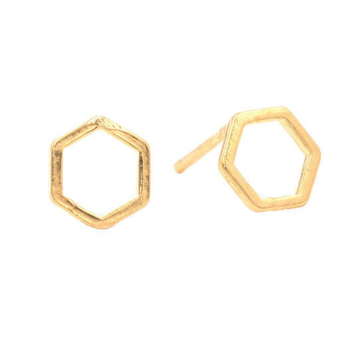 Geometric Hexagon Studs in Gold