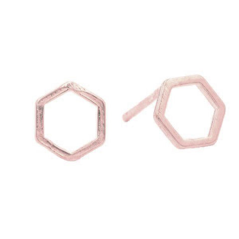 Geometric Hexagon Studs in Rose Gold