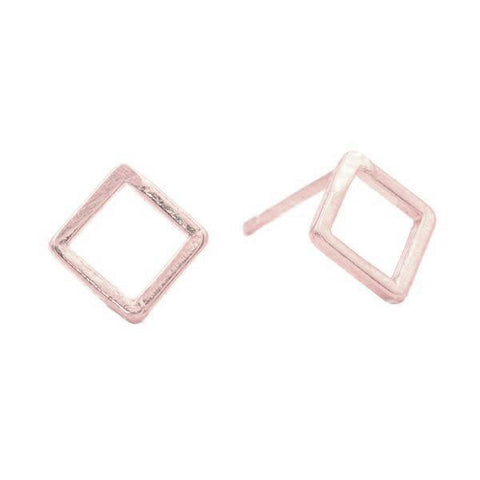 Geometric Square Studs in Rose Gold