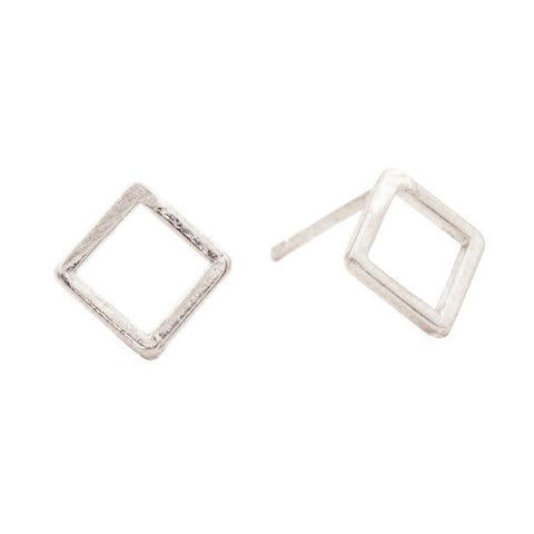 Geometric Square Studs in Silver