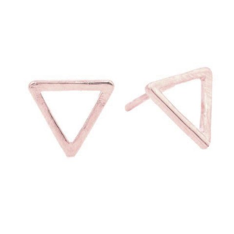 Geometric Triangle Studs in Rose Gold