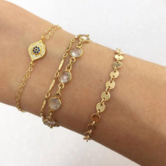 Gold Disc Bracelet-bracelet-Waffles & Honey Jewelry-Waffles & Honey Jewelry