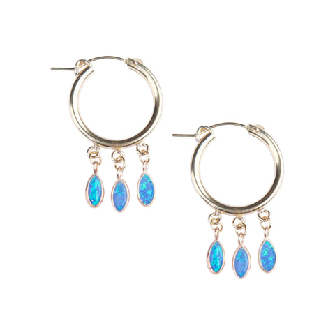 Gold Shaker Hoops in Blue Opal