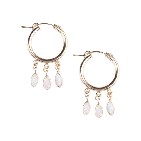 Gold Shaker Hoops in White Opal