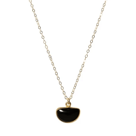 Haley Slice Necklace in Onyx-Necklaces-Waffles & Honey Jewelry-Waffles & Honey Jewelry