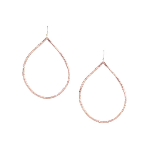 Hammered Hoops in Rose Gold