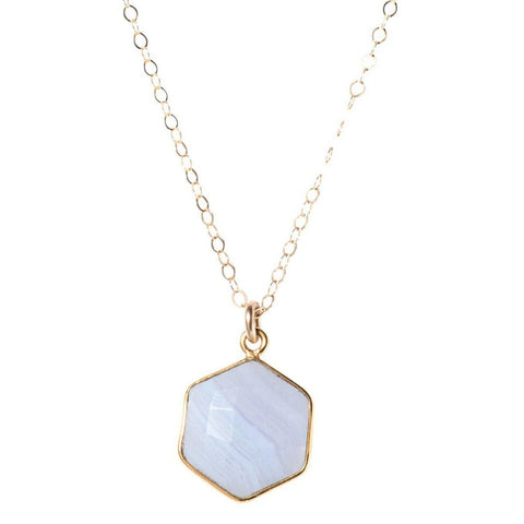 Hexagon Necklace in Blue Lace Agate