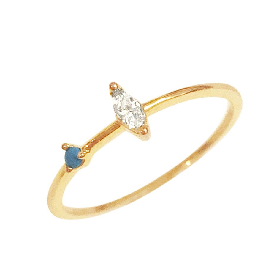 Hint Ring in Turquoise and CZ-Rings-Waffles & Honey Jewelry-Waffles & Honey Jewelry