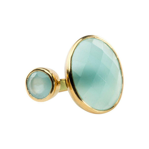 Hugging Ring in Chalcedony