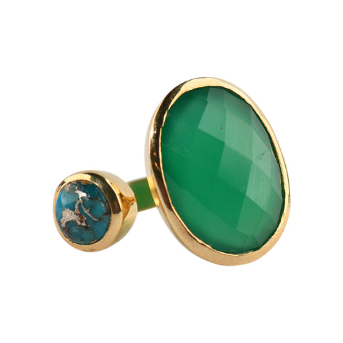 Hugging Ring in Emerald & Turquoise