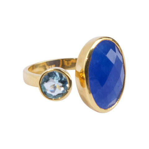 Hugging Ring in Lapis and Blue Topaz