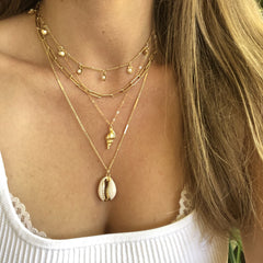 Sebastian Shell Necklace in Gold - Waffles & Honey Jewelry