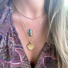 Roughcut Labradorite Cylinder Necklace - Waffles & Honey Jewelry