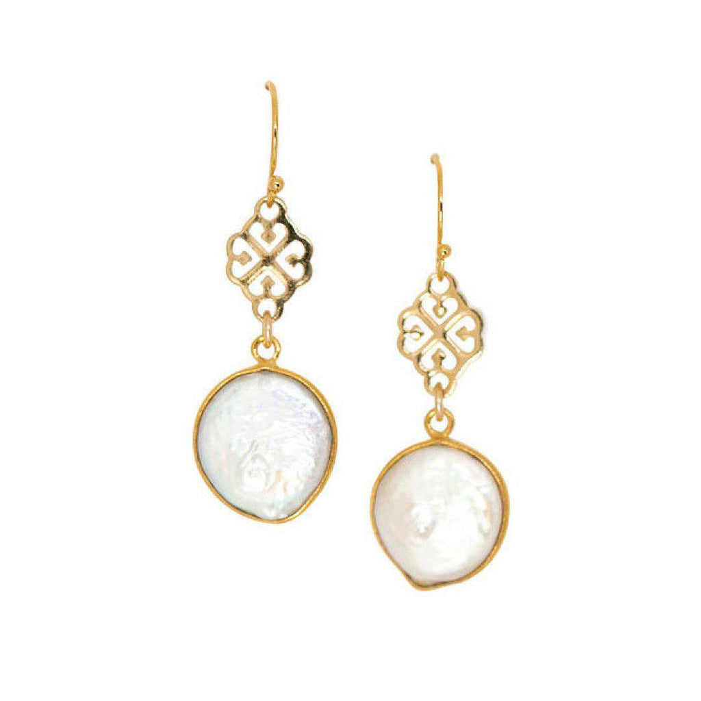 Kate Earrings in Pearl-Earrings-Waffles & Honey Jewelry-Waffles & Honey Jewelry