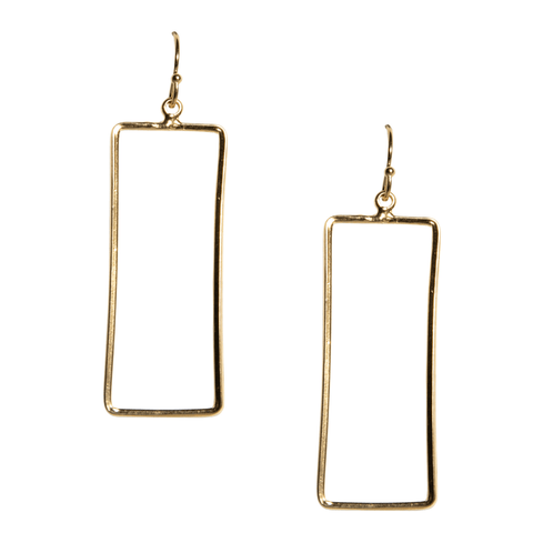 Kristen Rectangle Earrings in Gold