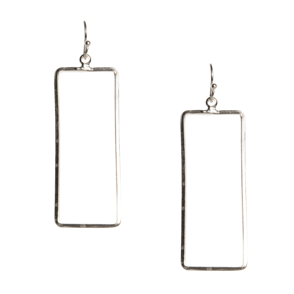 Kristen Rectangle Earrings in Silver-Earrings-Waffles & Honey Jewelry-Waffles & Honey Jewelry