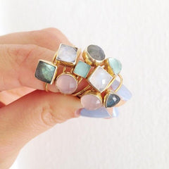 Labradorite Square Stacking Ring-Rings-Waffles & Honey Jewelry-Waffles & Honey Jewelry