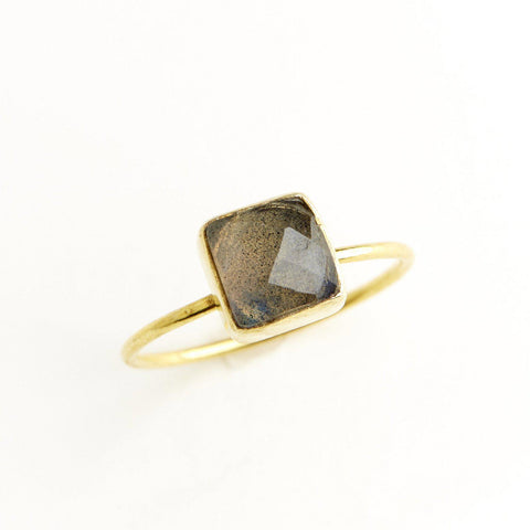 Labradorite Square Stacking Ring