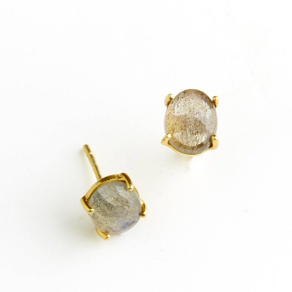 Labradorite Studs-Earrings-Waffles & Honey Jewelry-Waffles & Honey Jewelry