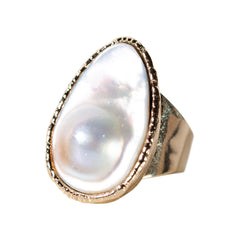 Large Blister Pearl Cocktail Ring-Rings-Waffles & Honey Jewelry-Waffles & Honey Jewelry