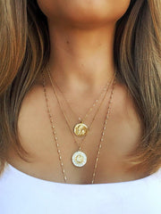 Leo Zodiac Necklace in Gold-Necklaces-Waffles & Honey Jewelry-Waffles & Honey Jewelry