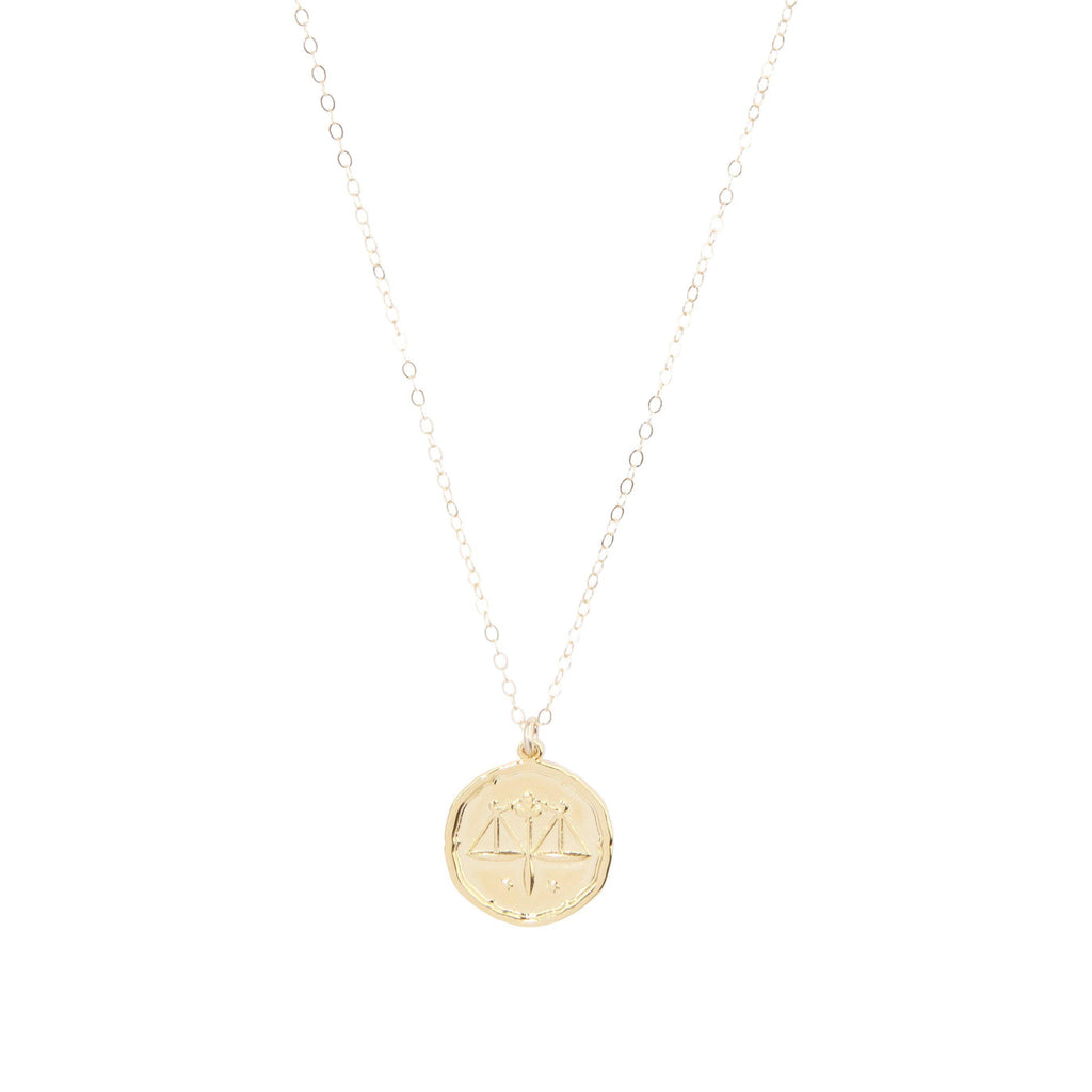 Libra Zodiac Necklace in Gold-Necklaces-Waffles & Honey Jewelry-Waffles & Honey Jewelry