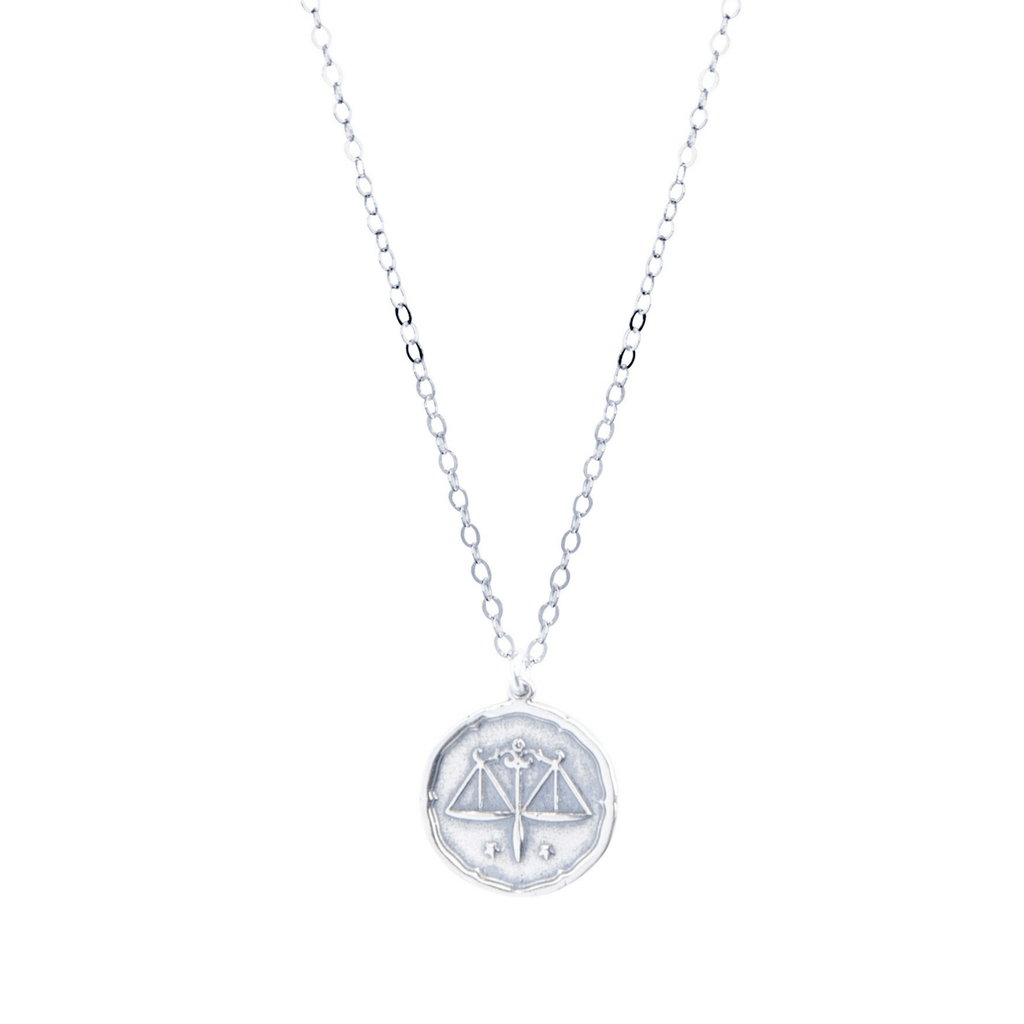 Libra Zodiac Necklace in Silver-Necklaces-Waffles & Honey Jewelry-Waffles & Honey Jewelry
