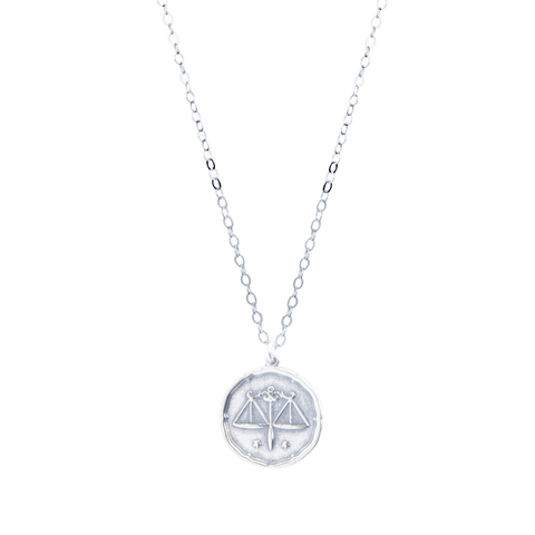 Libra Zodiac Necklace in Silver