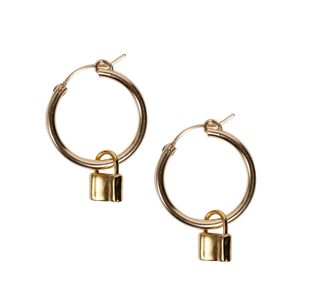 Lock Hoops in Gold