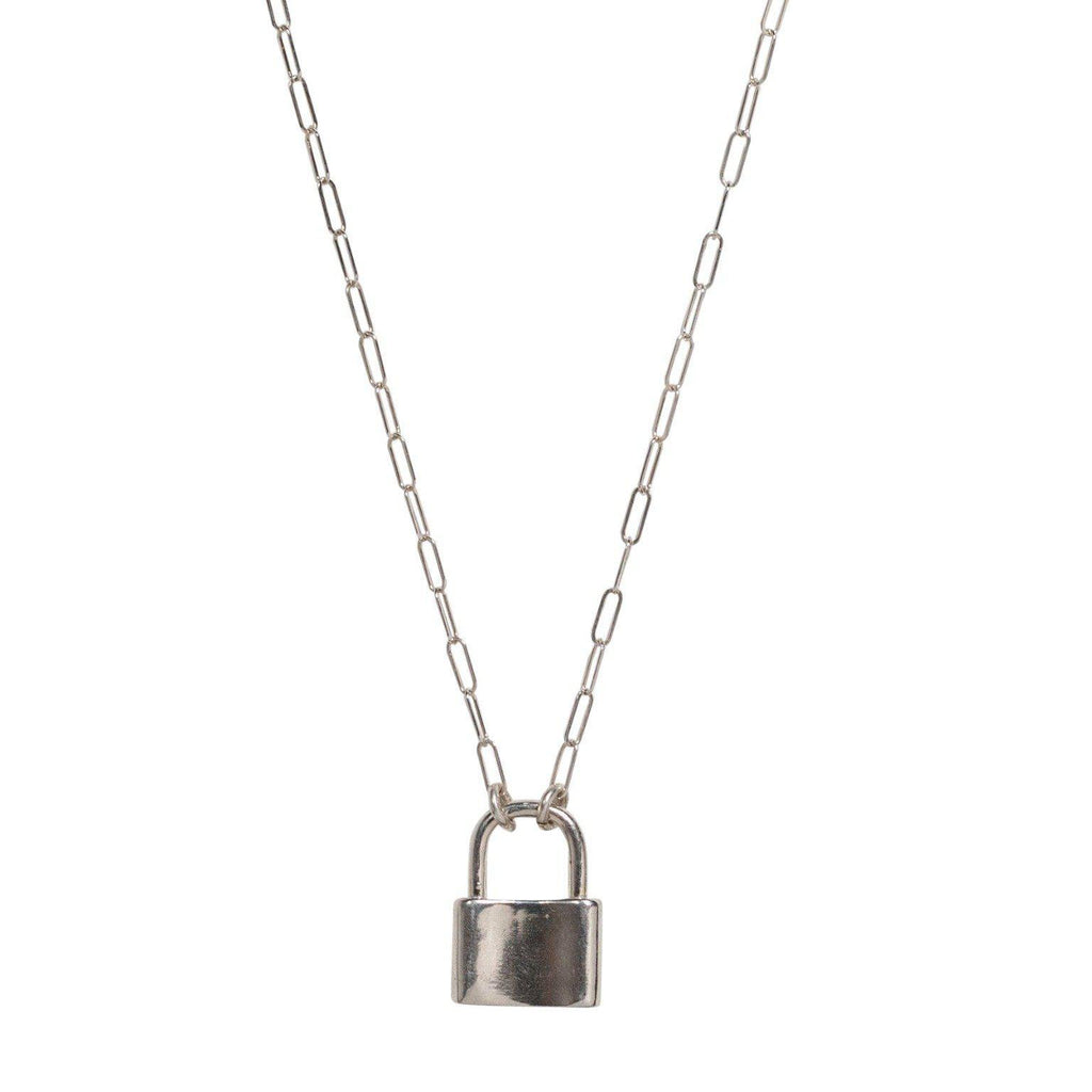 Lock Necklace in Silver-Necklaces-Waffles & Honey Jewelry-Waffles & Honey Jewelry