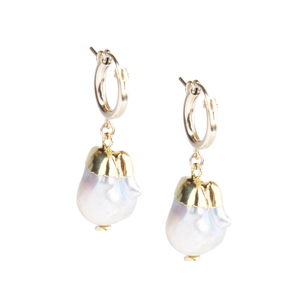 Lola Hoops in Freshwater Pearl-Earrings-Waffles & Honey Jewelry-Waffles & Honey Jewelry