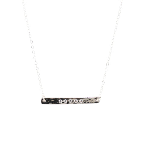 Long Bar Necklace in Silver