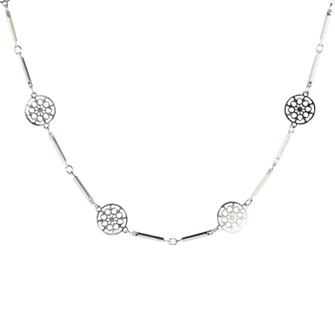 Long Mandala Necklace in Silver