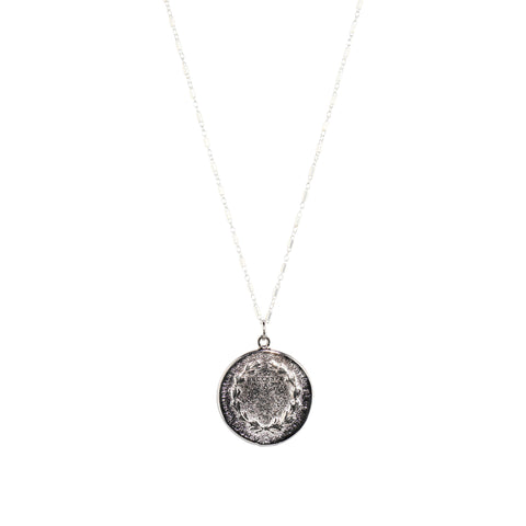 Long Roman Coin Necklace in Silver