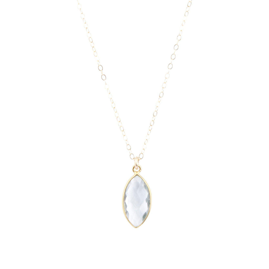 Marquise Necklace in Crystal Quartz-Necklaces-Waffles & Honey Jewelry-Waffles & Honey Jewelry