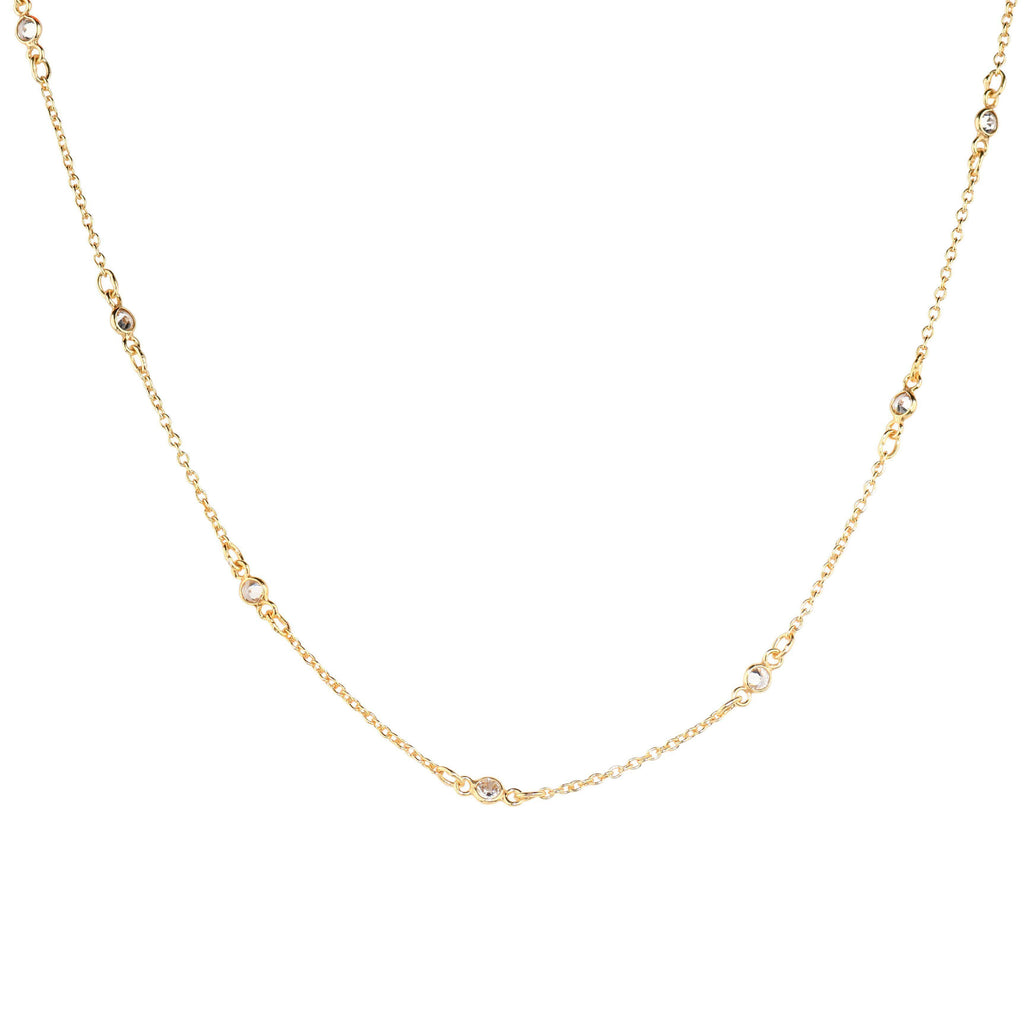 Maxie CZ Solitaire Choker-Necklaces-Waffles & Honey Jewelry-Waffles & Honey Jewelry