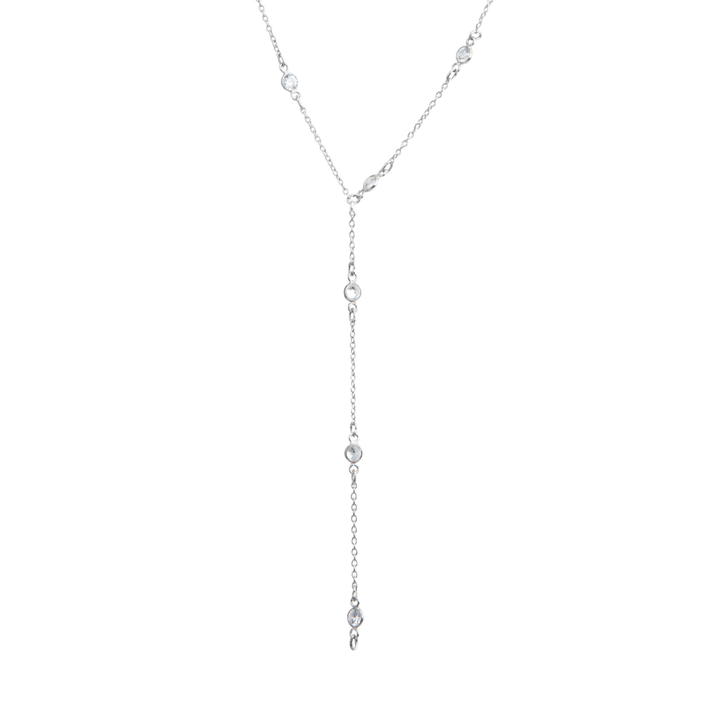 Maxie CZ Solitaire Lariat in Silver-Necklaces-Waffles & Honey Jewelry-Waffles & Honey Jewelry