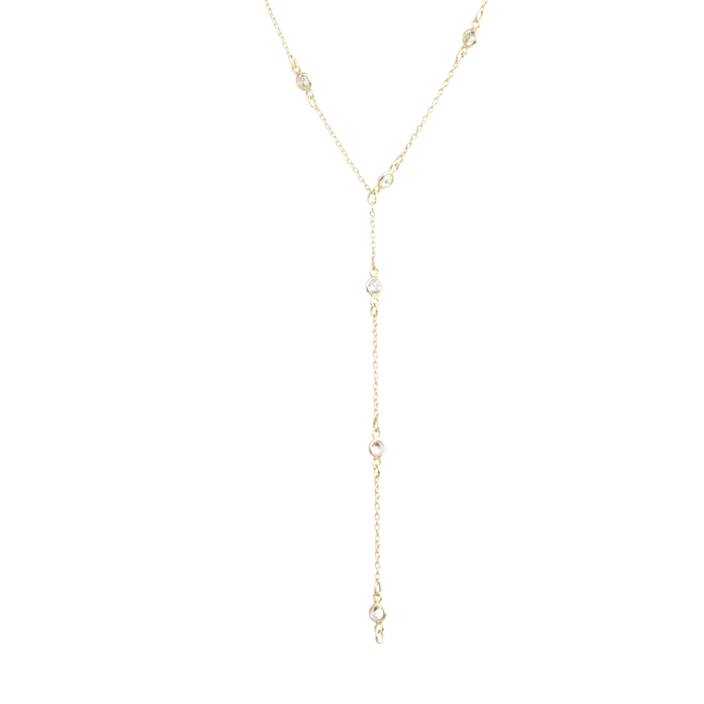 Maxie CZ Solitaire Lariat-Necklaces-Waffles & Honey Jewelry-Waffles & Honey Jewelry