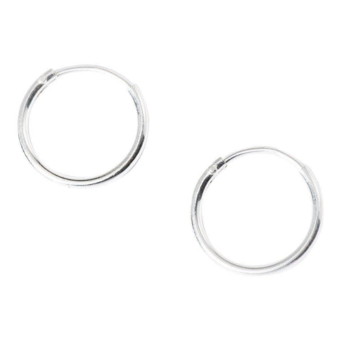 Mini Basic Hoops in Sterling Silver